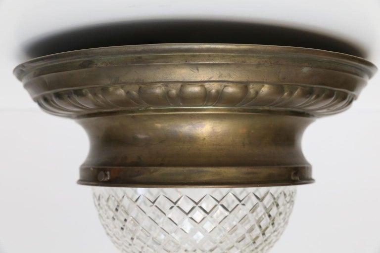 Antique Classic French Repoussé Flush Mount Light For Sale 2