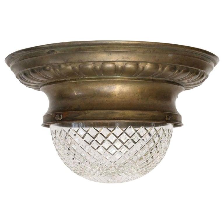 Antique Classic French Repoussé Flush Mount Light For Sale
