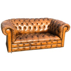 Antique Classic Leather Chesterfield Love Seat