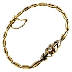 Antique Classic Russian Diamond Yellow and White 56 Gold Link Bracelet, 1880's