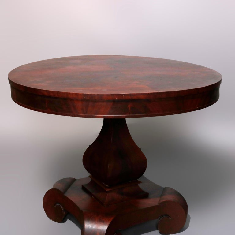 Carved Antique Classical American Empire Flame Mahogany Center Table Attributed Meeks For Sale