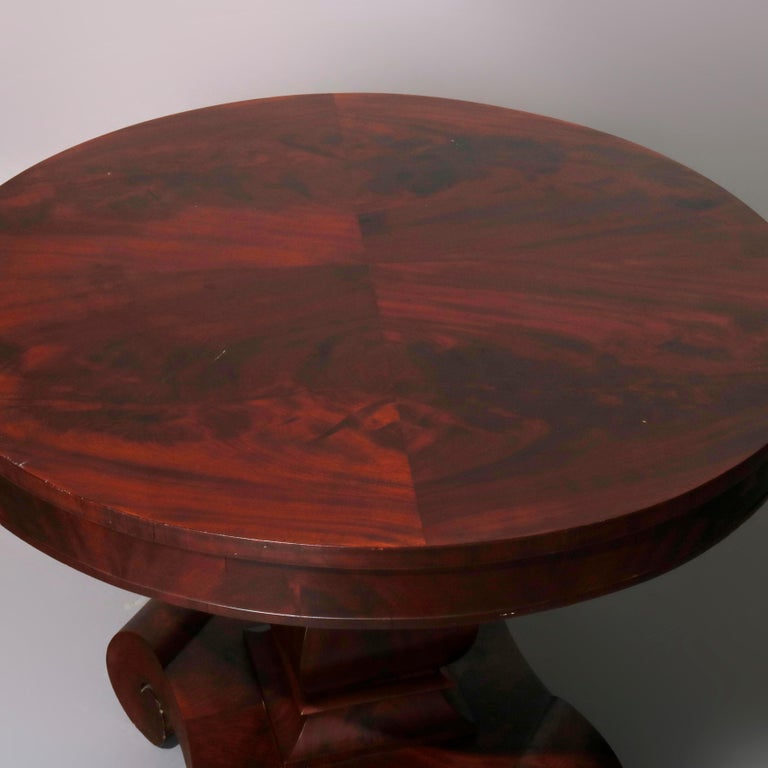 19th Century Antique Classical American Empire Flame Mahogany Center Table Attributed Meeks For Sale