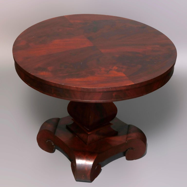 Antique Classical American Empire Flame Mahogany Center Table Attributed Meeks For Sale 1