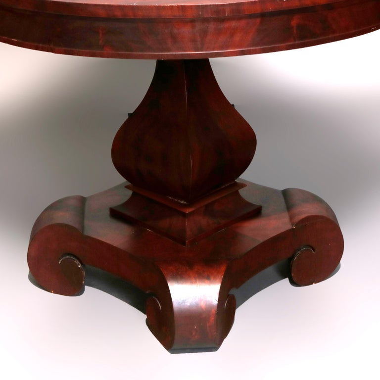Antique Classical American Empire Flame Mahogany Center Table Attributed Meeks For Sale 2
