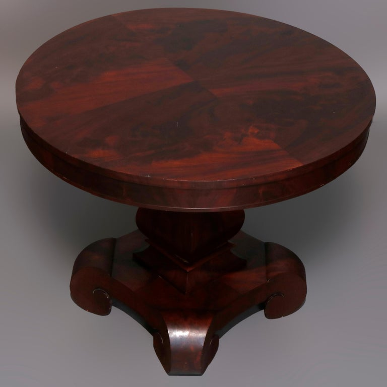 Antique Classical American Empire Flame Mahogany Center Table Attributed Meeks For Sale 4