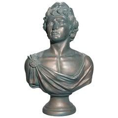 Antique Classical Bronzed Plaster Portrait Sculpture of Caesar, circa 1930