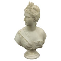 Antique Classical Carved Alabaster Sculpture of Roman Diana the Huntress, c1890