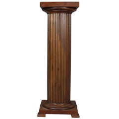 Antique Classical Carved Oak Corinthian Column Sculpture Display Stand