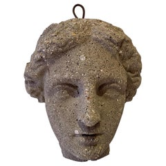 Antique Classical Cast Stone Head of Diana Wall Sculpture