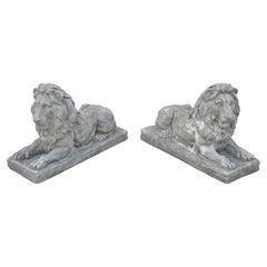 Antique Classical Concrete Reclining Resting Lion Garden Statue Jockey, a Pair