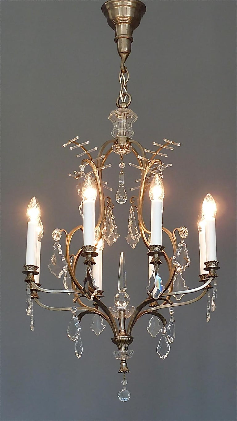 Antique Classical Eight-Light Crystal Glass Chandelier Vienna, circa 1910-1920 For Sale 11