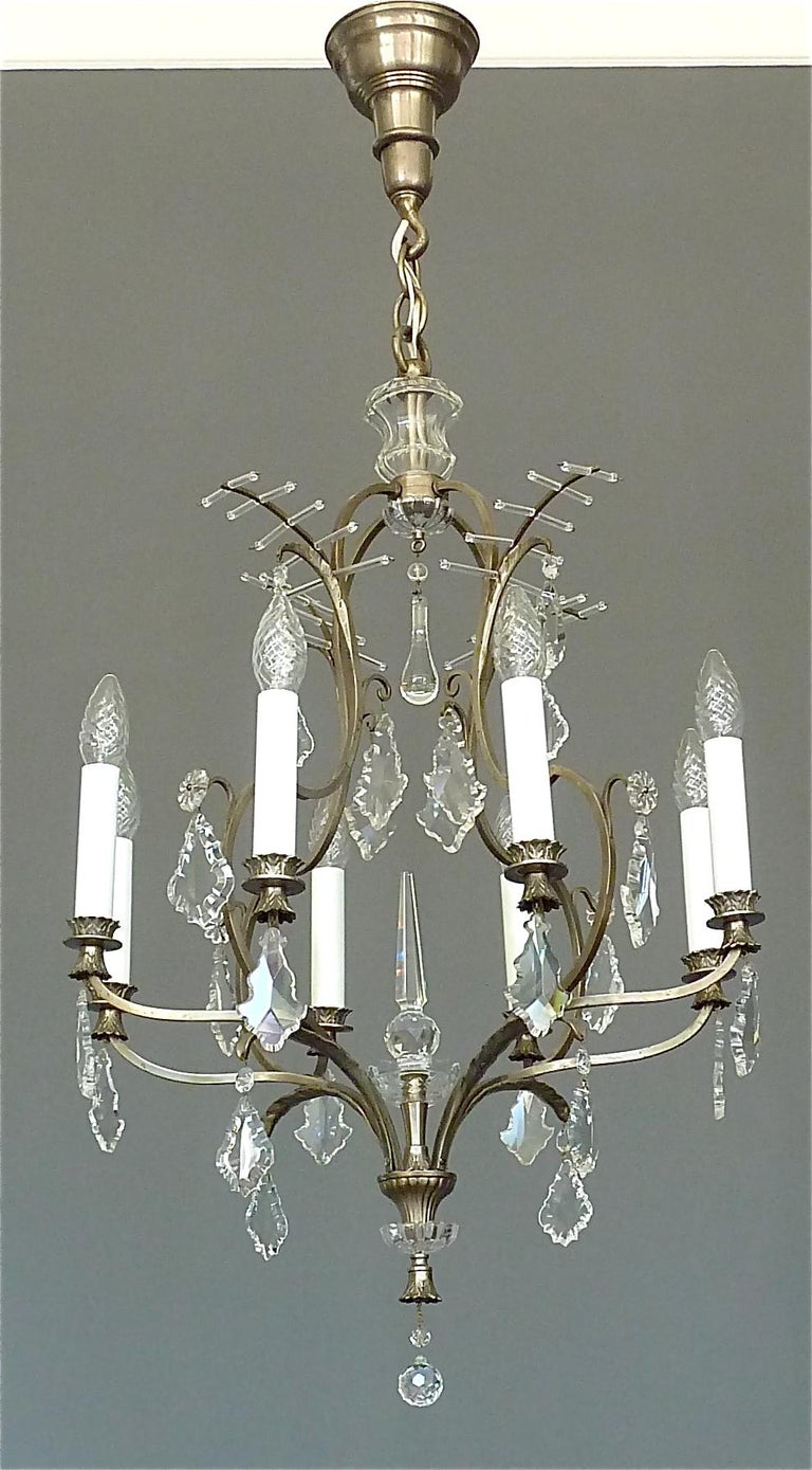 Antique Classical Eight-Light Crystal Glass Chandelier Vienna, circa 1910-1920 For Sale 12