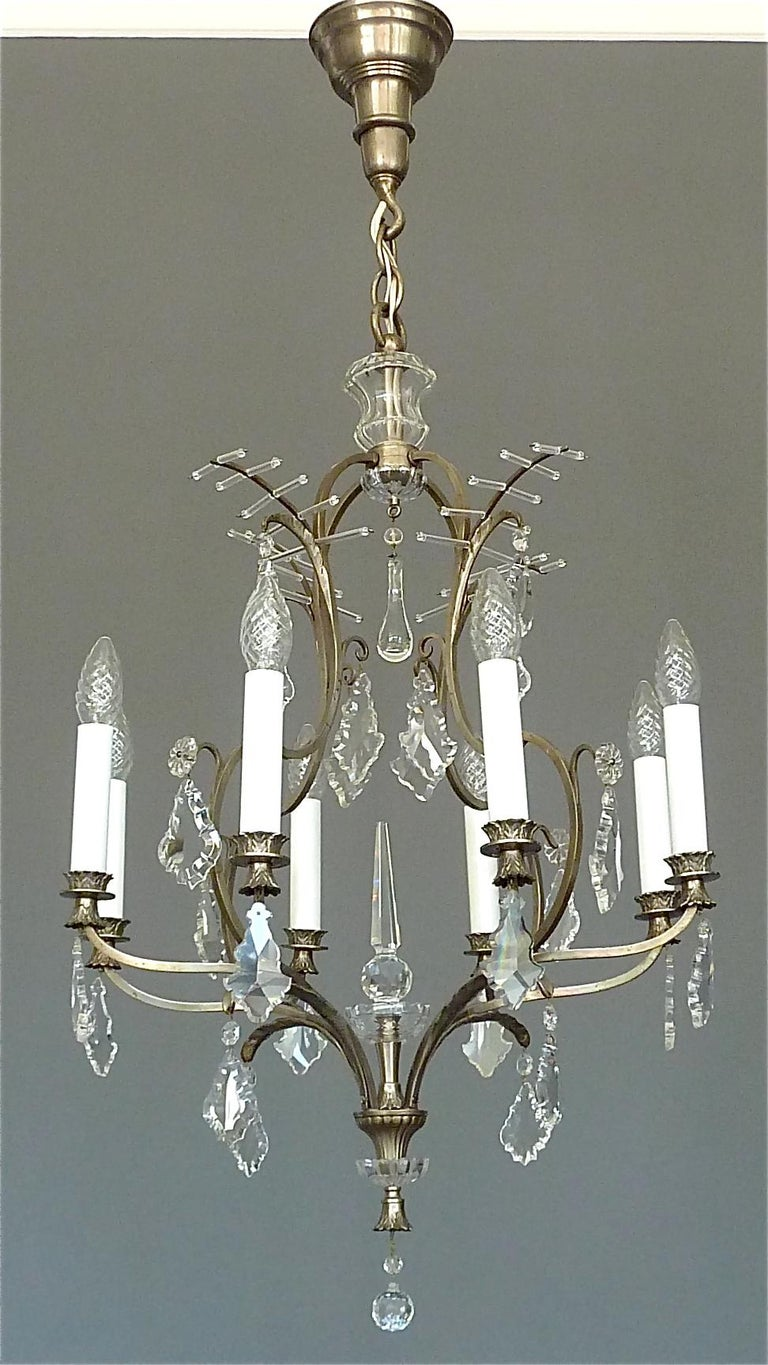 Bohemian Antique Classical Eight-Light Crystal Glass Chandelier Vienna, circa 1910-1920 For Sale
