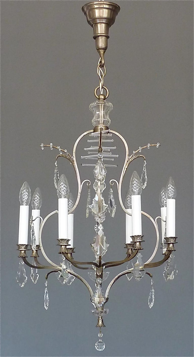 Austrian Antique Classical Eight-Light Crystal Glass Chandelier Vienna, circa 1910-1920 For Sale