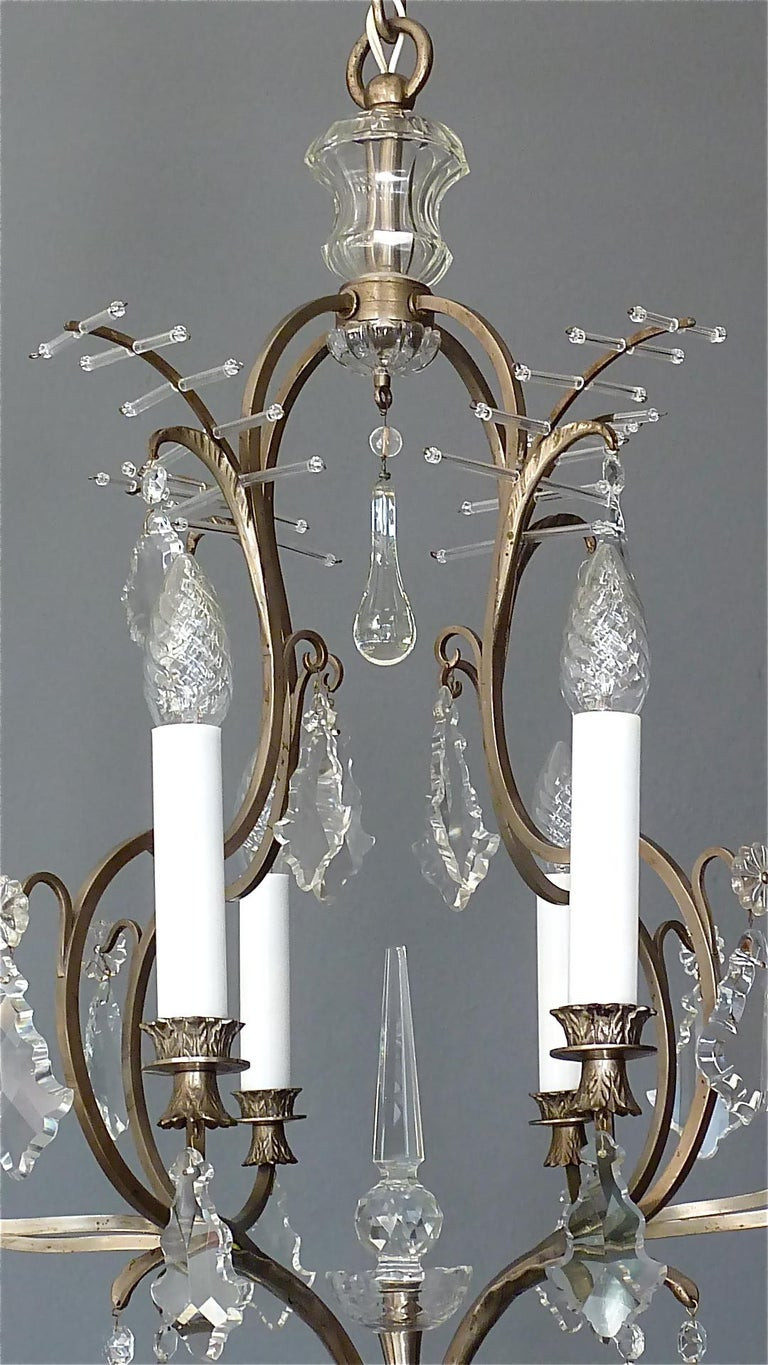 Faceted Antique Classical Eight-Light Crystal Glass Chandelier Vienna, circa 1910-1920 For Sale