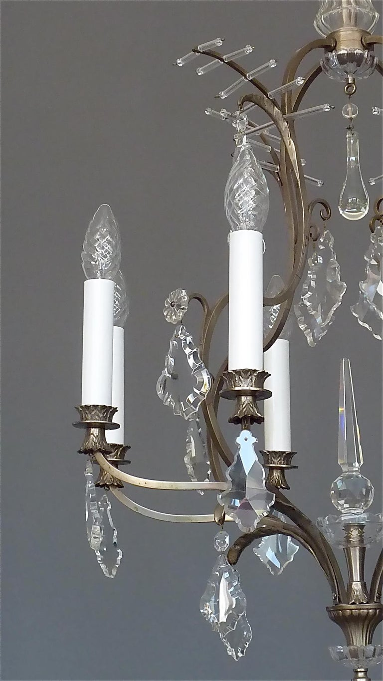 Early 20th Century Antique Classical Eight-Light Crystal Glass Chandelier Vienna, circa 1910-1920 For Sale