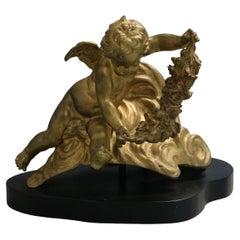 Antique Classical Gilt Bronze Sculpture, Putti with Floral Garland, c1890
