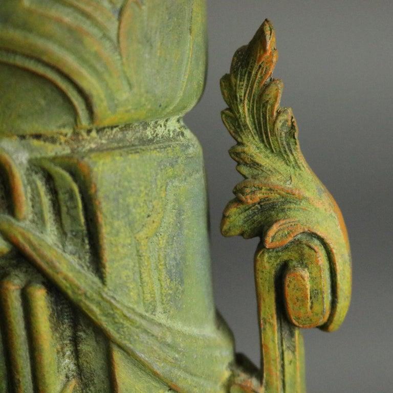 Antique Classical Greek Verdigris Metal and Marble Figural Cherub Urns For Sale 5