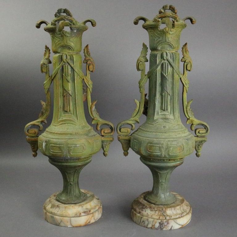 Antique Classical Greek Verdigris Metal and Marble Figural Cherub Urns For Sale 1