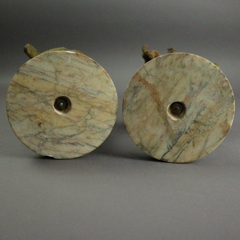 Antique Classical Greek Verdigris Metal and Marble Figural Cherub Urns For Sale 4