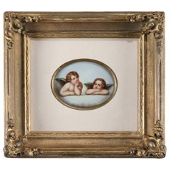 Antique Classical Hand-Painted Porcelain Plaque of Cherubs in Gilt Frame