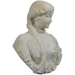 Antique Classical Italian Carved Alabaster Young Woman Portrait Sculpture