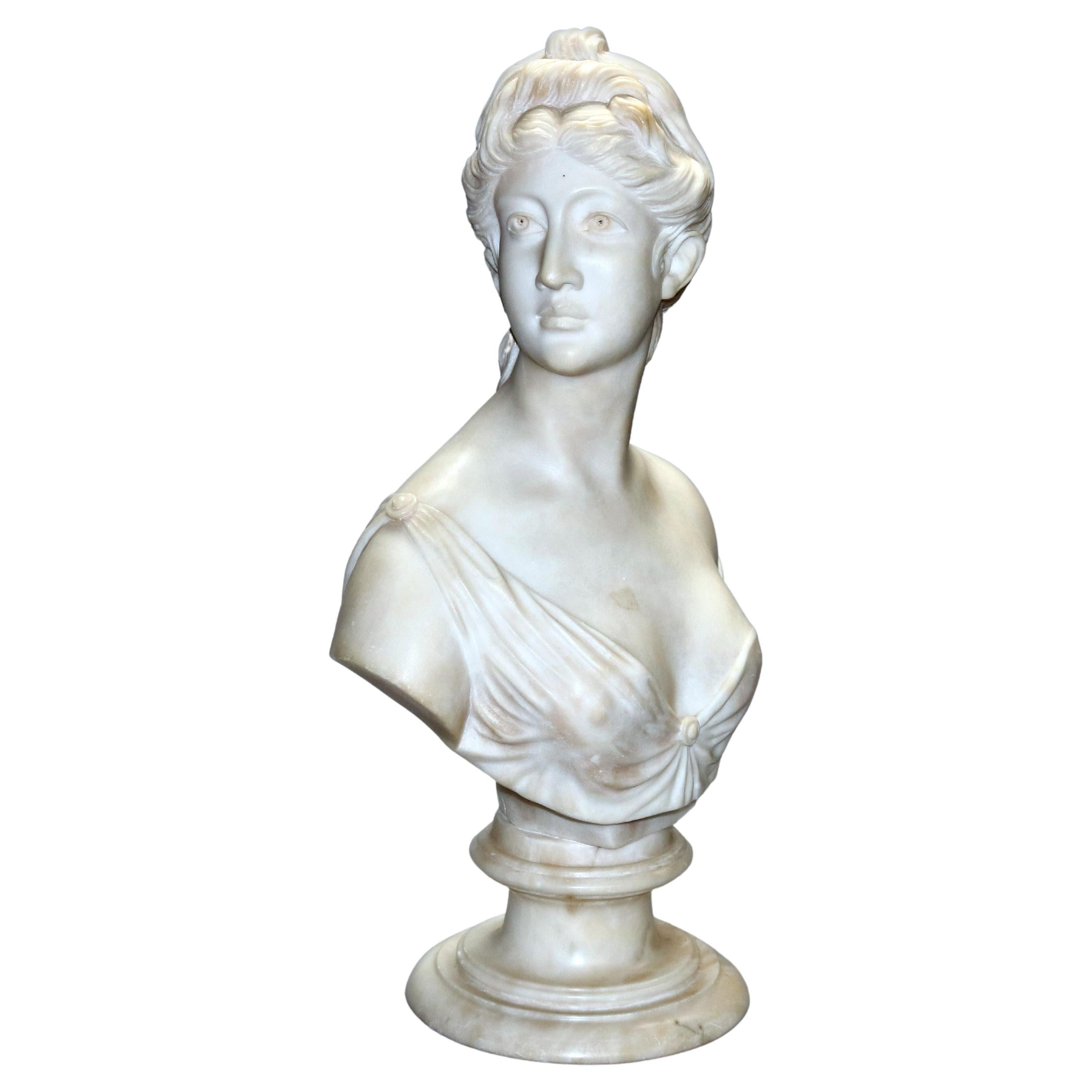 Antique Classical Italian Carved Marble Bust of a Woman by B. Bensi, circa 1890