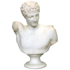 Classical Italian Carved Marble Bust of Hermes after Praxiteles, 19th Century