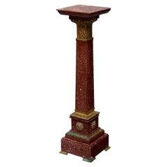 Classical Italian Rouge Marble & Cast Bronze Sculpture Pedestal, circa 1870