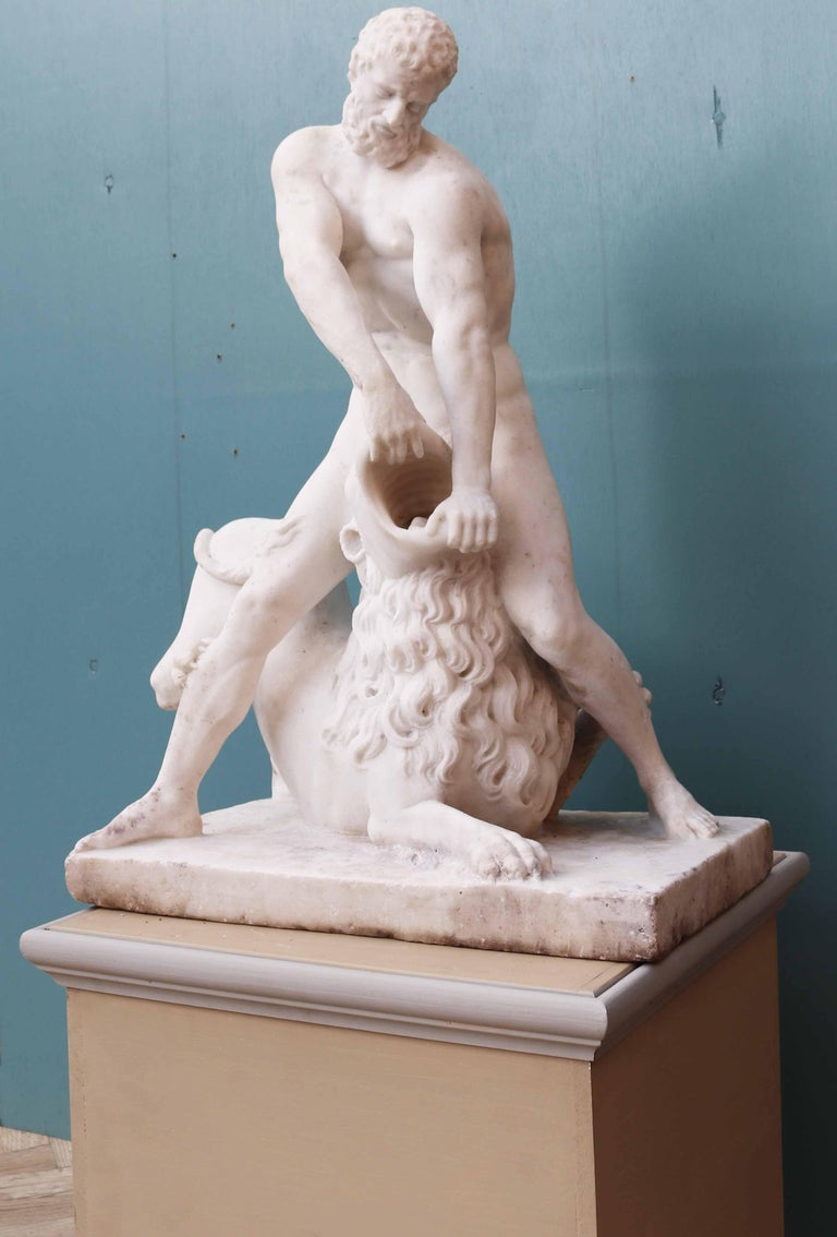 Italian Antique Classical Marble Statue of Hercules and the Nemean Lion For Sale