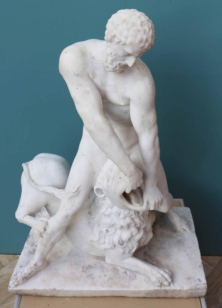 Antique Classical Marble Statue of Hercules and the Nemean Lion For Sale 1