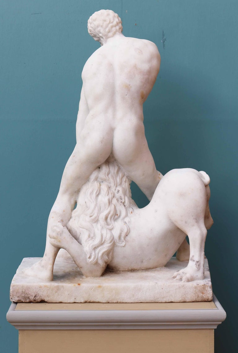Antique Classical Marble Statue of Hercules and the Nemean Lion For Sale 2