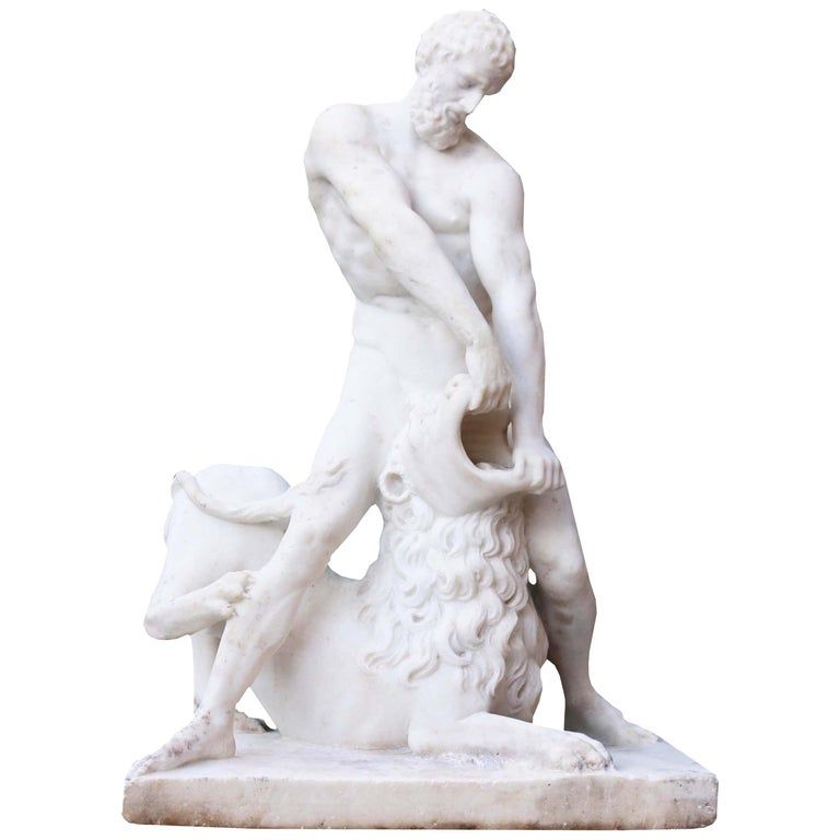Antique Classical Marble Statue of Hercules and the Nemean Lion For Sale