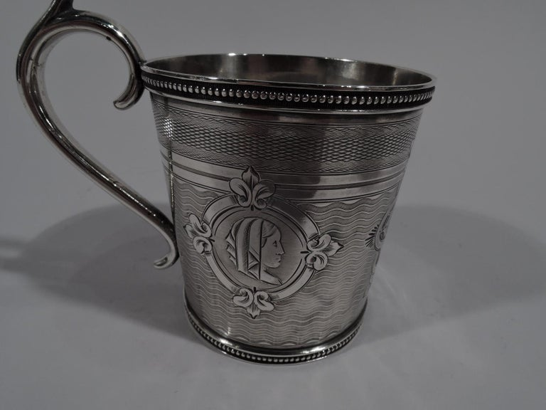 American Classical Antique Classical Medallion Coin Silver Baby Cup by New York Maker For Sale