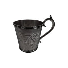 Antique Classical Medallion Coin Silver Baby Cup by New York Maker