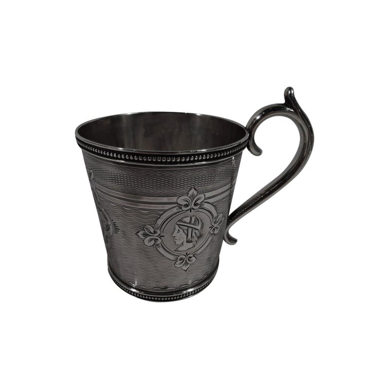 Antique Classical Medallion Coin Silver Baby Cup by New York Maker For Sale