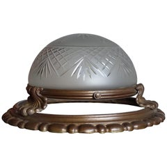 Antique Classical Revival Bronze and Hand Engraved Glass Flush Mount Fixture