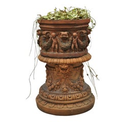 Antique Classical Terracotta Garden Pedestal Planter Pot with Cherub Figures