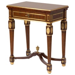 Antique Classicism Russian Mahogany Table with Brass, 18th Century