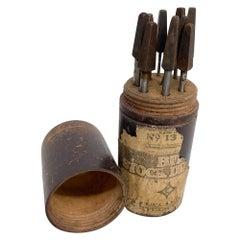 Antique Cleveland Twist Drill  Co #13 Set Bit Stock Metal Tools + Wood Case 1910