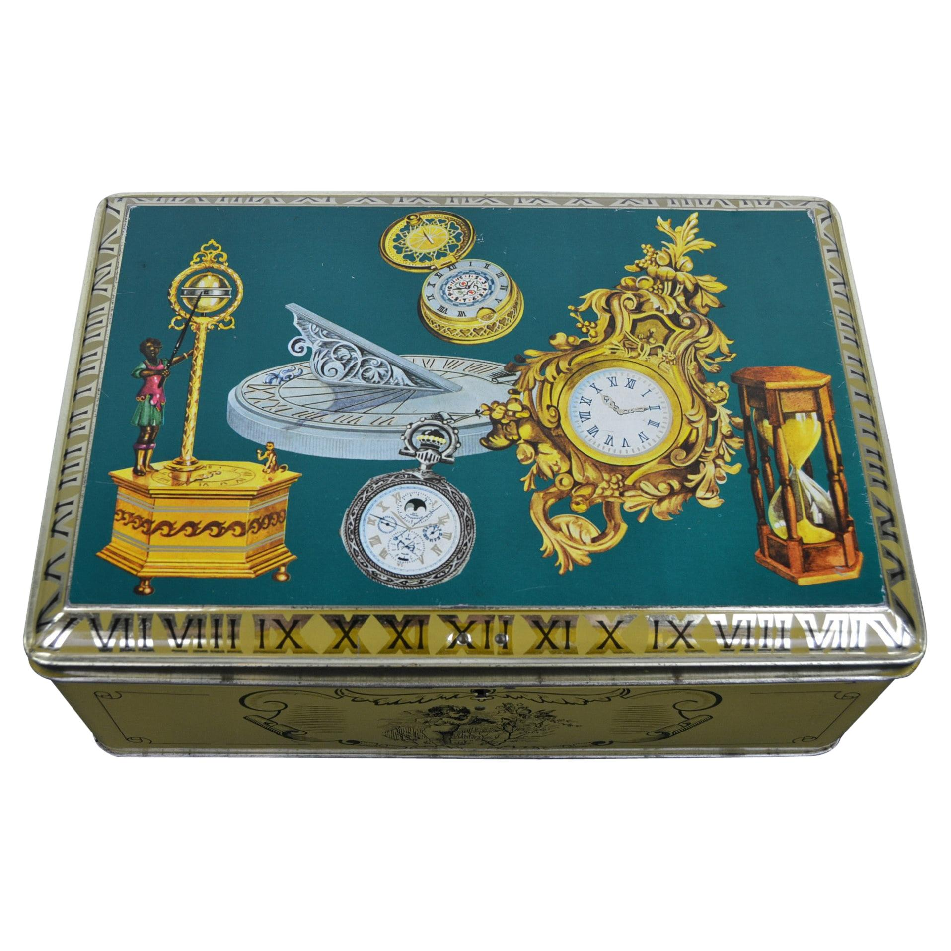 Antique Clocks and Watches, Timepieces Tin Box