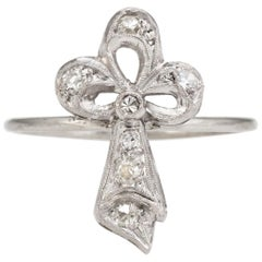 Antique Clover Conversion Ring Art Deco Diamond 14 Karat White Gold Platinum