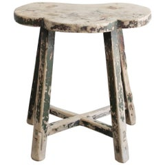 Antique Clover Elmwood Stool with Green Patina Paint