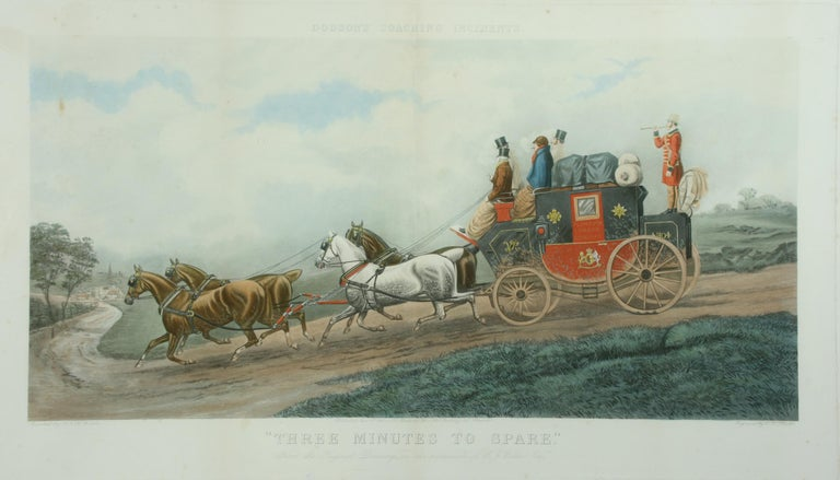 Antique coaching print 'Three Minutes to Spare', T. N. H. Walsh. A good large colored coaching print 'Dodson's Coaching incidents', 'Three Minutes to Spare' after the painting by T.N.H.Walsh, engraved by C.R.Stock. The picture is framed in a blonde