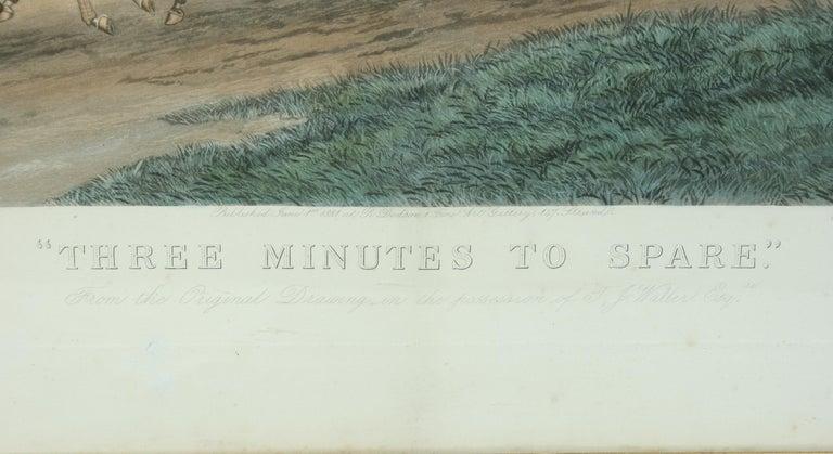 English Antique Coaching Print 'Three Minutes to Spare'