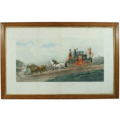 Antique Coaching Print 'Three Minutes to Spare'