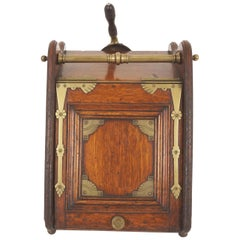 Antique Coal Box, Hod, Oak and Brass, Shovel, Metal Liner, Scotland, 1890, B2228