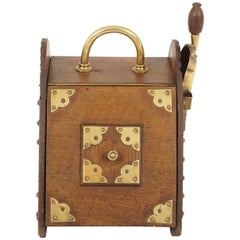 Antique Coal Box, Oak and Brass, Shovel and Metal Liner, Scotland 1890, B2212