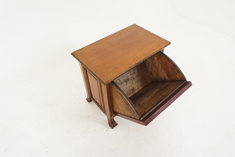 Scottish Antique Coal Box, Victorian Walnut Log Box, Antique Furniture, Scotland 1880, B1 For Sale