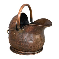 Antique Coal Bucket, English, Copper, Fireside, Scuttle, Victorian, circa 1870